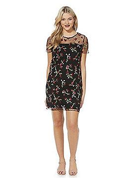 F&F Floral Embroidered Mesh Dress - Black