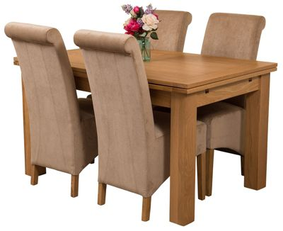 Richmond medium Extending Solid Oak Dining Set Table + 4 Beige Fabric Chairs