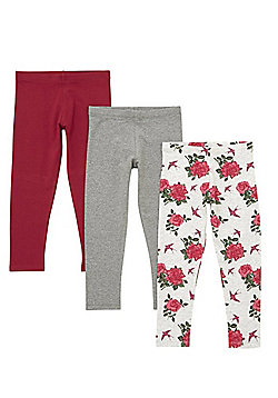 F&F 3 Pack of Rose Print and Plain Leggings - Grey/Berry
