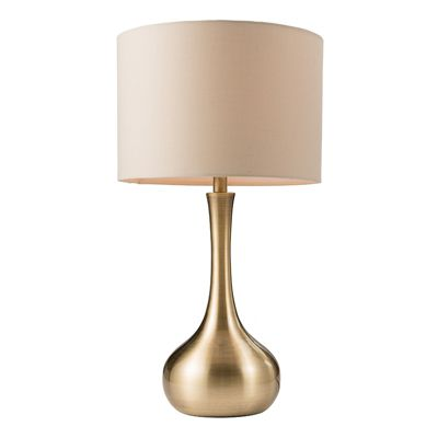 Stylish Touch Table Lamp Light Soft Brass Plate Taupe Cotton Mix Shade