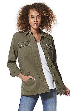 F&F Faux Pearl Studded Jacket - Khaki