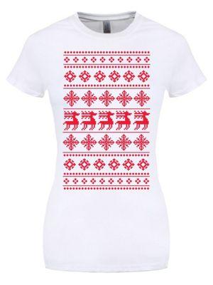 Christmas Reindeer Seasonal Patterned White Women's T-shirt