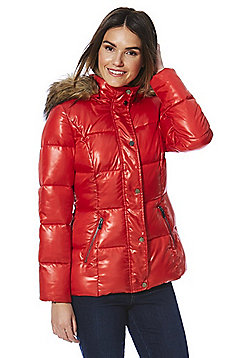 F&F Wet Look Faux Fur Trim Puffer Jacket - Red
