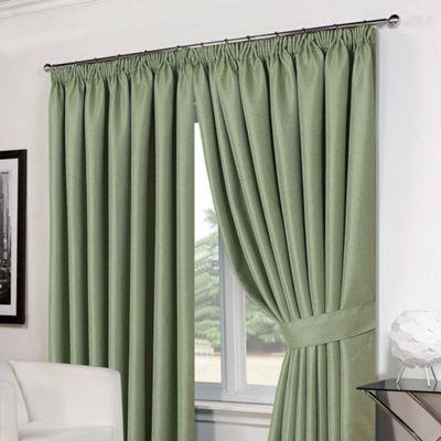Dreamscene Pair Basket Weave Pencil Pleat Curtains, Green - 46