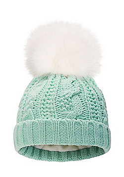 Zakti Girls Fluff Bomb Acrylic Chunky Knit Beanie with Soft to Touch Fabric - Green