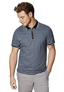 F&F Zip Pique Polo Shirt - Navy