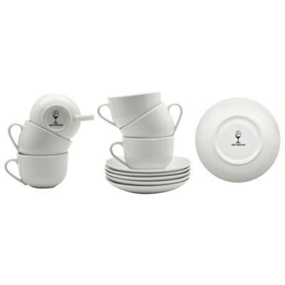 White Cappuccino Coffee Cup / Saucer Set - 200ml (7oz) - Set of 6