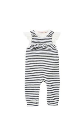 F&F Striped Dungarees and Bodysuit Set Navy/White 0-1 months