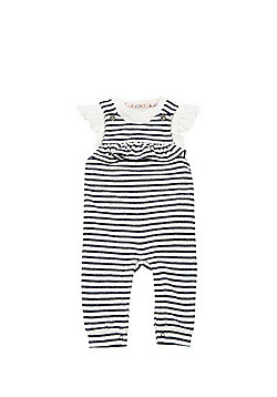 F&F Striped Dungarees and Bodysuit Set - Navy/White