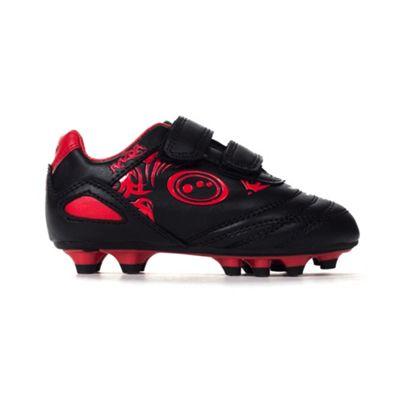 Optimum Razor Velcro Moulded Kids Football Boot Black/Red - UK 8