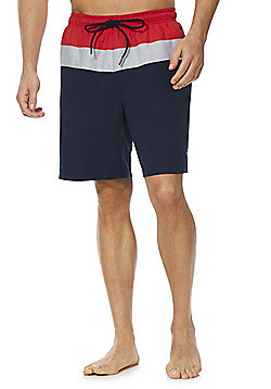 F&F Colour Block Board Shorts - Navy/Red