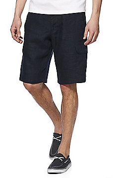 F&F Linen Cargo Shorts - Navy Blue