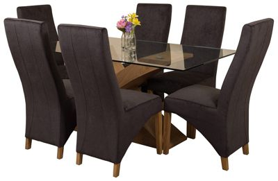 Valencia Small Oak 160cm Modern Glass Dining Set Table and 6 Black Fabric Chairs