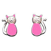 Girl's Pink Cat Stud Earrings