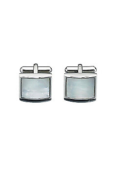 Fred Bennett Stainless Steel Mother of Pearl Square Cufflinks