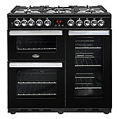 Belling Cookcentre Deluxe 90DFTB - 900mm Dual Fuel Range Cooker, Black
