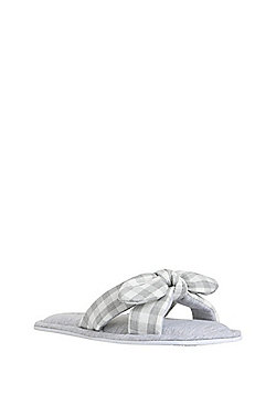 F&F Gingham Bow Slider Slippers - Grey