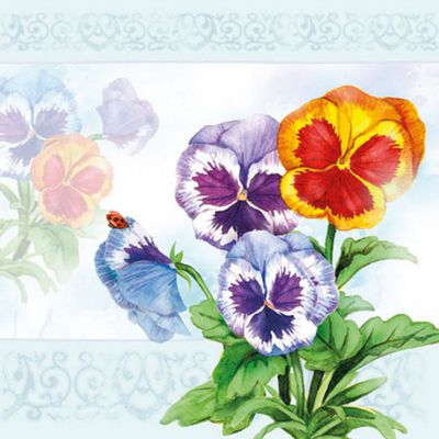 Ambiente 3 Ply Paper Napkins, Aquarell Pansy