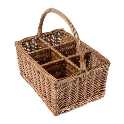 Homescapes Natural Willow Wicker 6 Bottle Wine Carrier with Handle