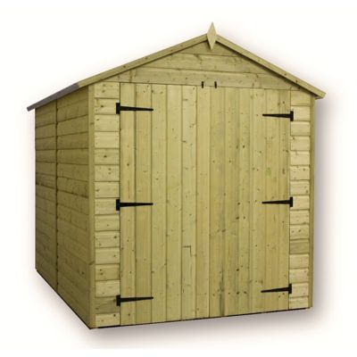 6 x 6 Maldon Windowless Premier Pressure Treated T&G Apex Shed + Higher Eaves & Ridge Height + Double Doors (6ft x 6ft)