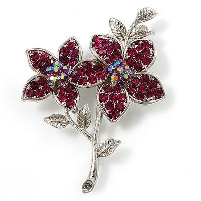 3e4d7a055d0e Magenta Swarovski Crystal Flower Brooch (Silver Tone) Catalogue Number   178-4713