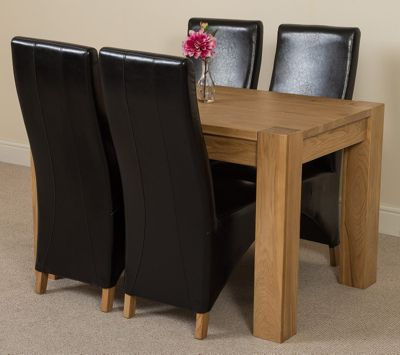 Kuba Chunky Solid Oak 125 cm Dining Table with 4 Black Lola Leather Chairs