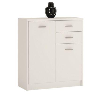 Kensington 2 Door 2 drawer Cupboard Pearl White