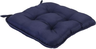 Blue Quilted Style Seat Pad Cushion With Ties