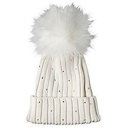 OHS Ladies Womens Warm Wool Knitted Fur Pom Pom Hat Diamante Beanie ... d177498c298