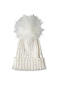 OHS Ladies Womens Warm Wool Knitted Fur Pom Pom Hat Diamante Beanie Bobble Ski Cap - Cream
