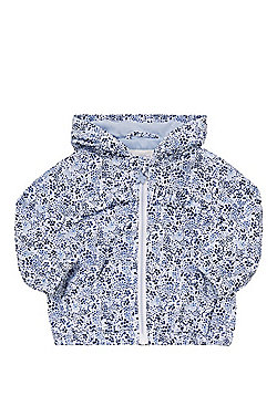 F&F Shower Resistant Ditsy Floral Jacket - Blue/White
