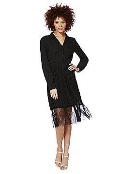 Vero Moda Lace Hem Shirt Dress - Black