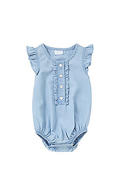 F&F Frill Trim Chambray Romper - Blue