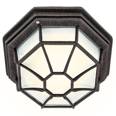 Traditional Hexagonal Rustic Brown Flush Ceiling Porch Light