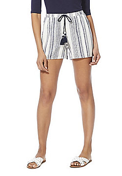 F&F Striped Tassel Drawstring Linen-Blend Shorts - Navy Multi