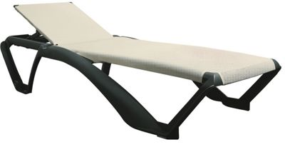 Resol Marina Sun Lounger - Dark Grey Frame with Natural / Cream Canvas