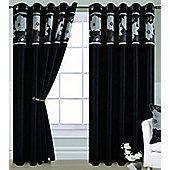 Dahlia Eyelet Curtains 90 x 72s - Black and Silver