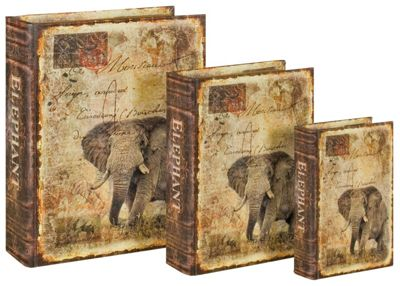 Set Of 3 Elephant Book Box Set