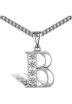 Sterling Silver Cubic Zirconia Identity Pendant - Initial B - 18inch Chain