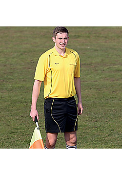Precision Referees Short Sleeve Shirt Yellow/Black - Black & Yellow