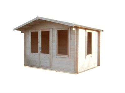 11X10 Berryfield Log Cabin (19MM) With Toughened Safety Glass By Finewood