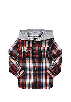 F&F Hooded Checked Shirt - Red