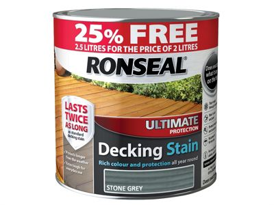 Ronseal Ultimate Decking Stain Stone Grey 2 Litre + 25%