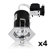 Pack of 4 Hexagonal Fire Rated GU10 Downlights, Chrome