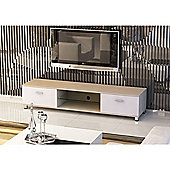 Oak & White Low Rise Wood Effect TV Stand