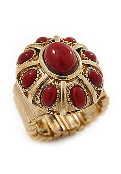 Vintage Ruby Red Coloured Glass Stone Oval Flex Ring In Burn Gold Finish - 25mm Length - Size 8/9
