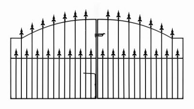 Wrought Iron Style Spear Top Arched Driveway Gate 213cm GAP x 125cm High