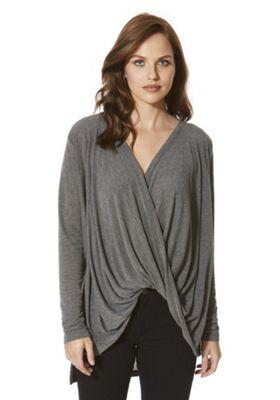 Vero Moda Wrap Front Jersey Top S Grey