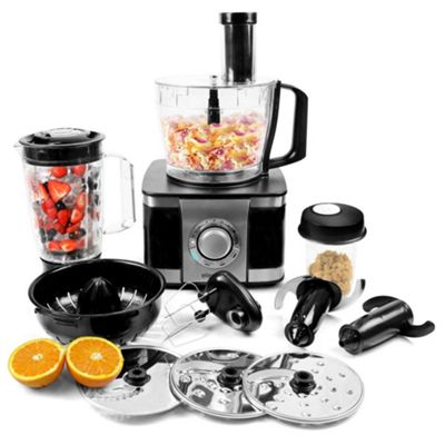 electriQ 1100W Multifunctional Food Processor in Stainless Steel and Black