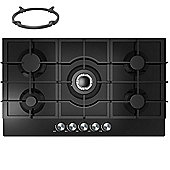 Cookology GGH905BK | 90cm Built-in 5 Burner Gas-on-Glass Hob in Black & Wok Stand